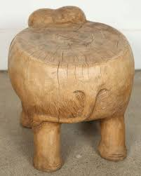 19th century elephant stool hand carved wood for