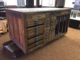 antique hamilton letter press typeset printers cabinet vine oak soapstone top