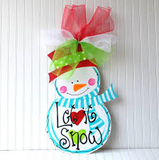 wood cutout snowman decor door hanger holiday