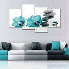 Large Teal Grey And White Lily Floral Canvas Wall Art Pictures For Bedroom Wall  Decor Flower