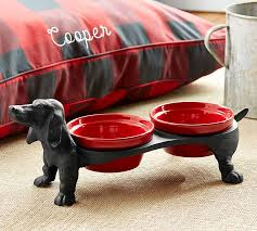 Decorative Dog Bowls Dachshund Dog Bowl Stand Pottery Barn 1