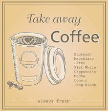 Coffee Menu Amazing Vector Illustration Of Plastic Coffee Cup With Words Take Away