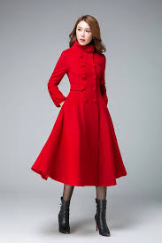 plus size fit and flare coat fresh red coat red jacket plus size coat wool coat