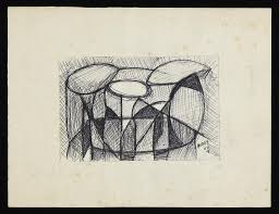 abstract drawing abstract drawing of geometric shapes with some areas cross hatched
