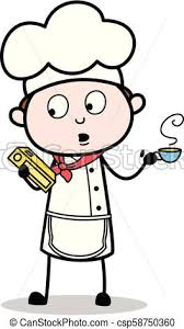 cartoon chef holding a recipe book and drink hot coffee vector ilration