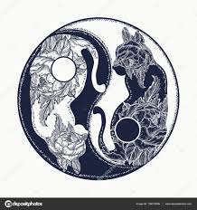 Yin A Yang Tetování Kočky Boho Mandala Symbol Harmonie Stock