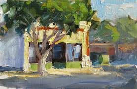 nostalgia main street small town america plein air painting by tom brown