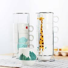 The most common stacking mugs rack material is porcelain & ceramic. Creative Ceramic Coffee Mug Stacking Cup Teacup Home Set Ceramic Cup Fun Gifts Dropshipping 4 Cups 1 Cup Holder Mugs Aliexpress