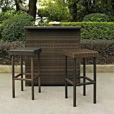 3 piece patio bar set. Unique Set Patio Bar Set 3 Piece Outdoor Wicker Furniture Stools Shelf Garden Yard  Brown PatioBarSets For