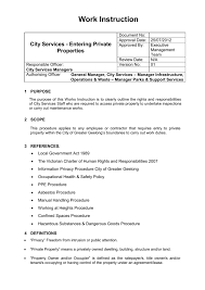 Work Instruction Template Procedure Or Work Instruction Template