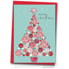 Pink Christmas Card Asian Christmas Tree Set Of 10 Christmas Cards Biscuitmoon Designs