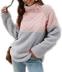 Women's Warm Sherpa Pullover Sweatshirt,<b>Long</b> Sleeve Oblique ...