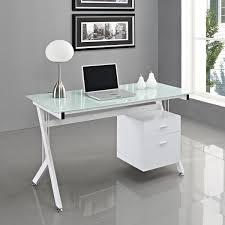 white glass top computer desk