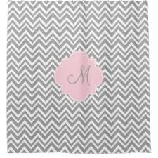 grey and pink shower curtain. monogram grey and white chevron with pastel pink shower curtain