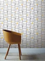 Retro Block Ochre & Grey Wallpaper ...