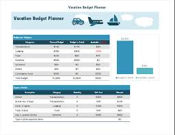 Trip Planner Excel Vacation Budget Planner Excel