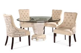 bassett mirror dining table. Reflections Dining Set With Script Fabric Chairs (Antique Silver \u0026 Mirror Finish) - [D2055-000-AAC] Bassett Table O