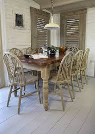 we ve painted this large dining set in annie sloan country grey over old white creating a charming rustic farmhouse look there s plenty of room for all