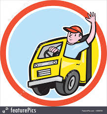 People At Work Delivery Truck Driver Waving Circle Cartoon Stock