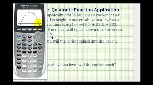 ex quadratic function using a graphing calculator rocket launch you