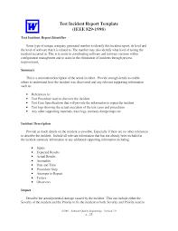 Free Test Incident Report Templates At Allbusinesstemplates Com