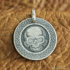whole linsion 999 sterling silver laser engraved high details skull mens biker pendant 9x305 jp mens necklace handmade jewellery from hot4u