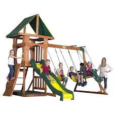 Amazon.com: Backyard Discovery Santa Fe All Cedar Wood Playset Swing Set:  Toys & Games