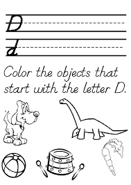 Color the objects that start with the letter d