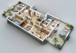 Apartment Designs Shown With Rendered D Floor Plans - Small apartment floor plans 3d