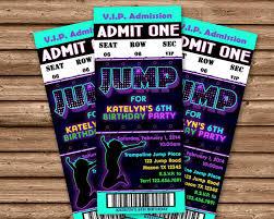 Party Ticket Invitations Amazing Girls Jump Birthday Party Ticket Invitations Party Print Express