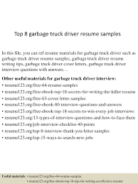 truck driving resumes top 8 garbage truck driver resume samples