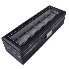 watch box 6 mens black leather display glass top jewelry case watch box 6 mens black leather display glass