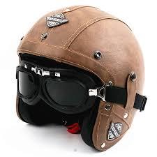 hot men vintage leather motorcycle helmet open face retro pilot cruiser helmets motocicleta jet moto