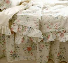 rustic rural vintage blue rose ruffle cotton bedding sets luxury full size duvet cover set queen size king size bedclothes in bedding sets from home