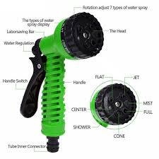 expandable garden hoses. 50FT Expandable Garden Hose Pipe With 7 In 1 Spray Gun - Green Hoses