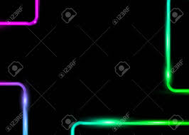 Colorful Rectangle Templates With Neon Shiny Vintage Glowing