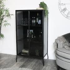 tall black metal glass storage cabinet