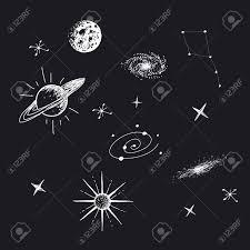 銀河惑星星星座と宇宙のベクター イラストです手描きスタイル銀河の目的のセット