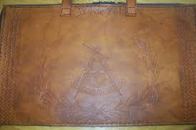 custom leather mason a case with rounded square and compass in java brown color by kerry
