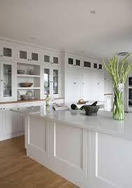 white quartz countertops cabinets and some green plants for a eco friendly home