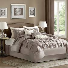 madison park laurel queen size bed comforter set bed in a bag taupe wrinkle tufted pleated 7 pieces bedding sets faux silk bedroom comforters