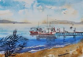 boats watercolor vinita pappas