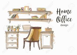 home office work table. Set Of Hand Drawn Classic Home Office Interior Work Table Wooden Shelf Chair Vector Sketch Stock