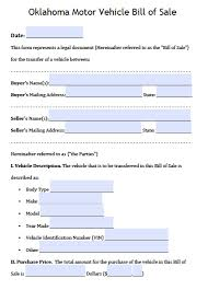 bill of sale free oklahoma dps motor vehicle bill of sale form pdf word doc