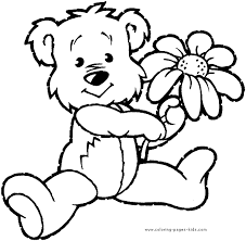 Small Picture Bears Coloring Page Bear with a flower