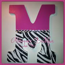 Personalized Bedroom Decor Custom Decorated Wooden Letters Pink Zebra Print Theme