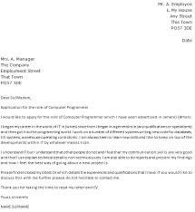 Computer Programmer Cover Letter Example Icover Org Uk