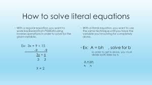 solving literal equations for a variable jennarocca
