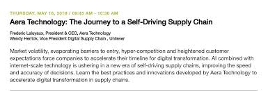"""Aera Technology on Twitter: """"@Aera_Technology CEO @flaluyaux and Wendy  Herrick, VP Digital Supply Chain from Unilever will present onstage at  #GartnerSCC. Join the session to learn all things about the self-driving  supply"""