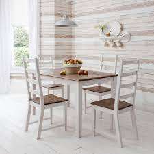canterbury dining table with 4 chairs in dark pine white 140cm